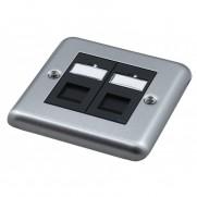 Singlegang Metal Faceplate with 2 Cat6 UTP Module Modules