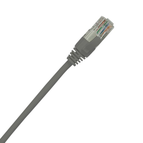 Grey Cat5e patch lead with latch protection;